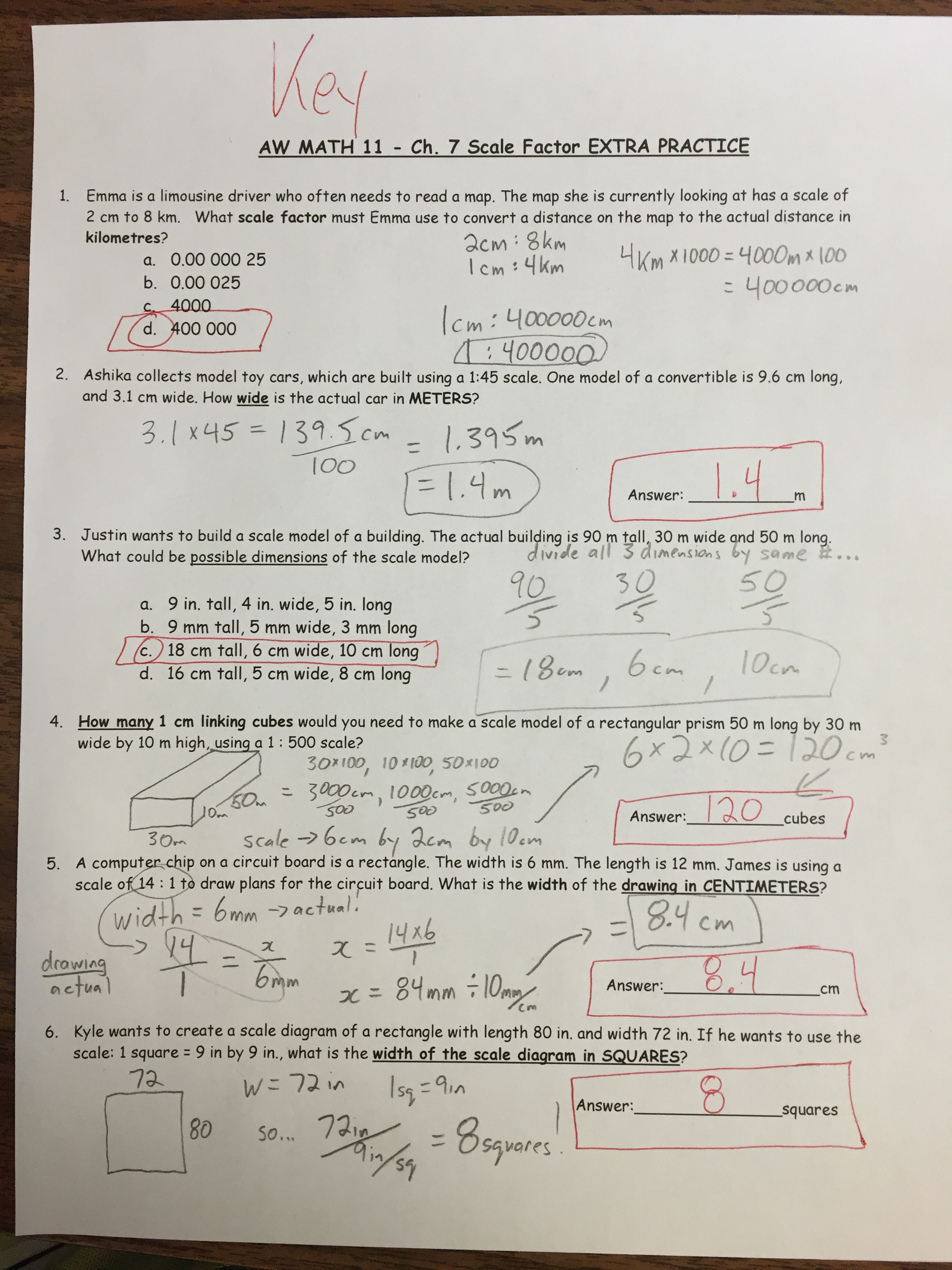 Worksheets Scale Factor Worksheets worksheets and projects mr fogelklous website ch 7 scale factor extra practice solutions key